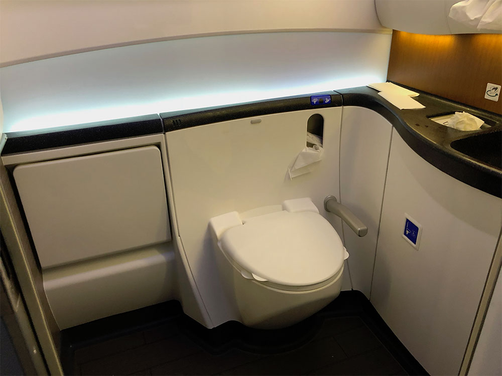 Accessible lavatory on an American Airlines Boeing 787.